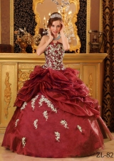 Wine Red Strapless Appliques Cheap Quinces Dresses On Sale