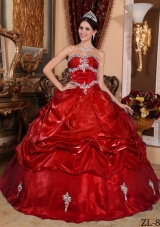 Wine Red Sweetheart Organza Appliques and Pick-ups Sweet Sixteen Dresses