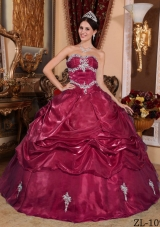 Wine Red Sweetheart Organza Appliques Quinceanera Gowns Dresses