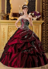 Wine Red Sweetheart Taffeta Appliques and Pick-ups Quinceanera Dress