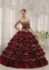 Princess Leopard Sweetheart Layers Burgundy Dresses Quinceanera