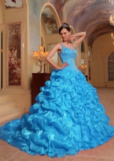 Aqua Blue Ball Gown Spaghetti Straps Quinceanera Dress with Organza Embroidery