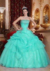 Aqua Blue Ball Gown Strapless Quinceanera Dress with  Organza Beading
