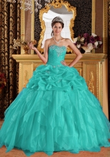 Aqua Blue Ball Gown Sweetheart  Organza Appliques Quinceanera Dress  with Beading