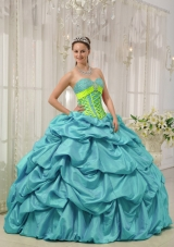 Aqua Blue Ball Gown Sweetheart Quinceanera Dress with  Taffeta Beading Pick-ups