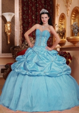 Baby Blue Ball Gown Sweetheart Quinceanera Dress   with Taffeta Beading