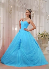 Blue Ball Gown Sweetheart Quinceanera Dress with  Tulle Beading