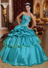 Teal Ball Gown Strapless Quinceanera Dress with  Taffeta Appliques