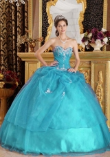 Teal Ball Gown Sweetheart Quinceanera Dress with  Organza Appliques