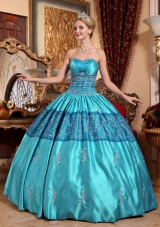 Teal Ball Gown Sweetheart Quinceanera Dress with  Taffeta Embroidery
