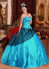 Teal Ball Gown Sweetheart  Satin Embroidery Quinceanera Dress with Beading