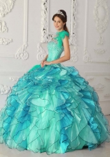 Turquoise Ball Gown Strapless Quinceanera Dress with Organza Beading