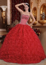 Beaded Red Fabric With Rolling Flowers Dress For Quinceanera