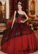 One Shoulder Beading and Appliques Burgundy Quinceanera Dresses Gowns