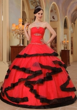 Red Organza Beading Red and Black Dresses For Quinceaneras