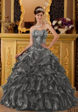The Brand New Style Dark Gray Puffy Sweetheart with Ruffles for 2014 Quinceanera Dress