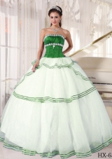 Puffy Strapless Organza Appliques Green and White Quinceanera Dress