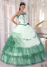 Sweetheart Organza Embroidery Turquoise and White Quinceanera Dress