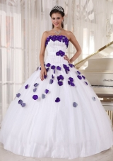 White Strapless Beading and Purple Floral Dresses For a Quinceanera
