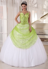Yellow Green and White Quinceanera Dresses Spaghetti Straps Sequin Appliques