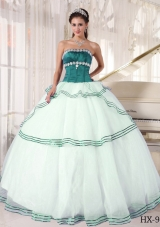 Puffy Turquoise and White Sweet Sixteen Quinceanera Dresses with Appliques