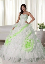 Sweetheart Court Train Organza Appliques and Ruffles White Quinceanera Gowns