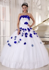 White Beading and Royal Blue Hand Made Flowers Dresses For a Quinceanera