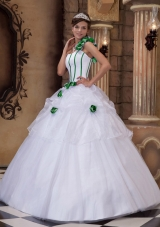 White One Shoulder Hand Made Flowers 2014 Dresses Quinceanera