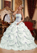 White Strapless Taffeta Appliques and Pick-ups Quinceanera Gowns