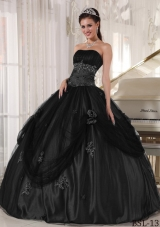 2014 Beading Quinceanera Dress Puffy Strapless with Hand Made Flower