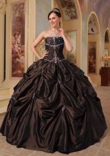 2014 Affordable Brown Strapless Puffy Beading Quinceanera Dress with Pick-ups