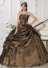 Popular Brown Ball Gown Strapless for 2014 Beading Quinceanera Dress with Pick-ups