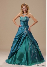 2014 Sweetheart Appliques Decorate Bust and Ruched Bodice For Prom Dress