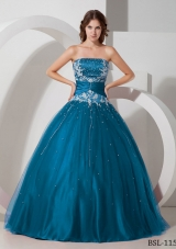 Puffy Strapless Appliques and Beading Pretty Quinceanera Gowns
