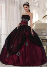 Puffy Strapless Burgundy Quinceanera Dress with Beading and Flowers