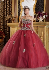 Burgundy Sweetheart Quinceanera Gown Dress with Appliques Tulle