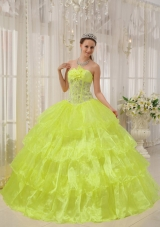 2014 Spring Strapless Quinceanera Gowns with Beading