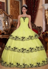 Strapless Organza 2014 Cheap Quincenera Dresses with Appliques