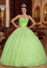 Lime Green Sweetheart Tulle Quinceneara Dresseses with Beading