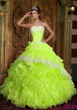 Princess Strapless Ruffles and Appliques for Organza Lime Green Quinceanera Dresses
