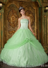 Princess Strapless Tulle Quinceanera Dresses with Appliques and Flowers