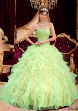 Princess Sweetheart Organza Sweet 15 Dresses with Beading and Ruffles