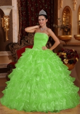 Strapless Organza New Style Quinceanera Gowns with Beading and Ruffles