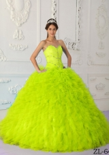 Sweetheart Organza Lime Green Sweet 16 Dresses with Beading and Ruffles