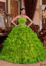 Sweetheart Organza New Style Quinceanera Dresses with Beading and Ruffles