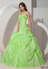 Sweetheart Taffeta Lime Green Quinceanera Dress with Beading