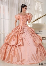 Off The Shoulder Quinceanera Dresses Gowns with Embroidery and Pick-ups