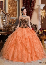 Orange Sweetheart Embroidery with Beading Dresses For a Quinceanera