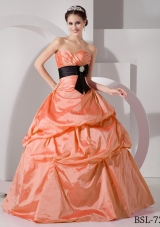 Orange Sweetheart Princess Discount Quinceanea Dresses with Black Sash