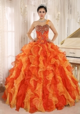 Custom Made Orange One Shoulder Beaded Decorate  Quinceanera Dress with Ruffles